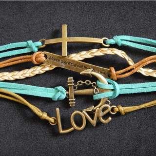 Love, anchor, and cross bracelet
