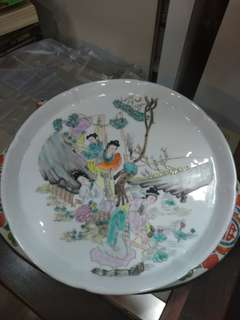 粉彩…美女瓷茶盘