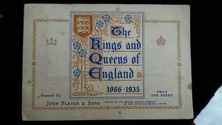 1935年英商John Players煙草公司出品歷代英國君主彩色肖像煙卡及收藏冊(齊套, 珍貴)