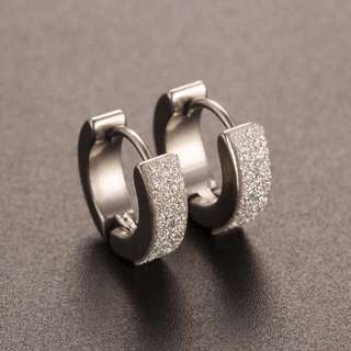 Korean Stainless Steel Hoop Piercing Round Crystal Earring