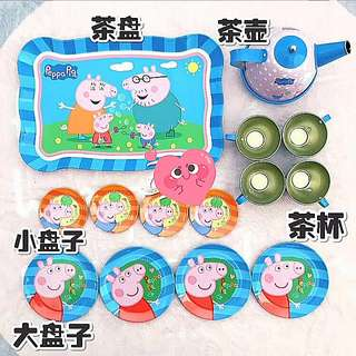 14pcs Peppa Pig Stainless Steel Teapot Teacups Saucers Afternoon Tea toy Set