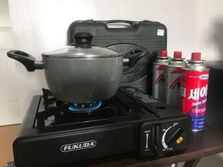 Portable stove w/ pot and gas