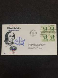 US 1967 1 1/4c Albert Gallatin Blk4 FDC stamps