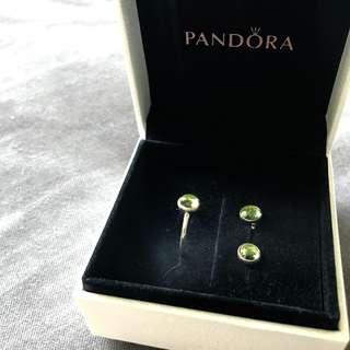 Pandora 8月生日石耳環戒指套裝