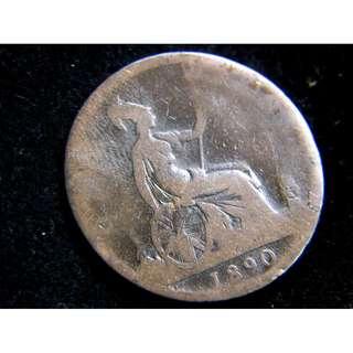 1890年大英帝國不列顛尼亞女神坐像1/2便士(Penny)銅幣(英女皇維多利亞像)
