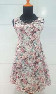 Pink-blue Flowers Dress Preloved Good Condition