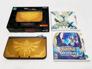 New 3DS XL Hyrule Edition + Pokemon Games (X, Moon)
