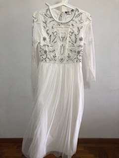 formal white maxi dress w sequins and sheer long sleeves