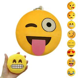 Emoji keychain round cushion pillow key chain plush toy gift