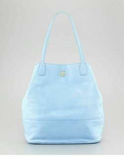 Tory Burch Light Blue pebbled leather tote bag