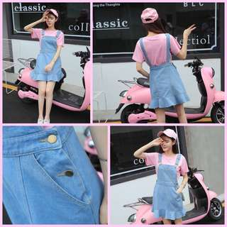 Denim Romper Skirt (Light Blue)