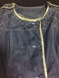 Denim dress; collar TOP; M