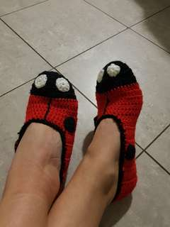 Hand Maid Crochet Ladybug Slip on