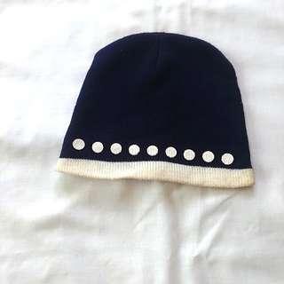 Navy Blue Knitted Bonnet