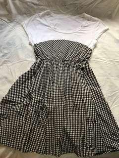 格紋併布連衣裙