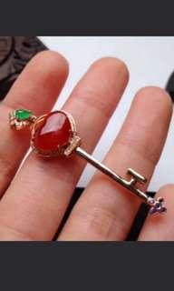 🍍18K Gold - Grade A 水润 Red Heart 心心相连 Jadeite Jade Key Pendant🌹