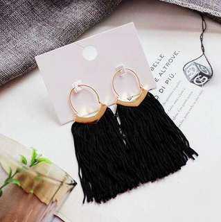 E14 Minimalist Black Tassel Earrings