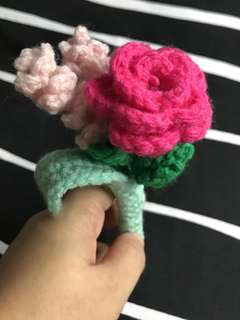 Single stalk bouquet- crochet rose - shocking pink