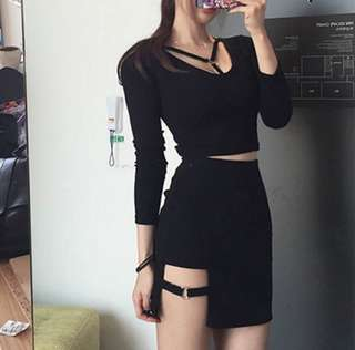 po ring black a line skirt