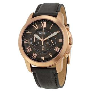 GRANT GREY DIAL CHRONOGRAPH BLACK LEATHER MEN'S WATCH FS5085