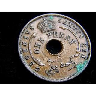 1952年英屬西非(British West Africa)皇冠六角星1便士(Penny)圓孔銅幣(英皇佐治六世末期)