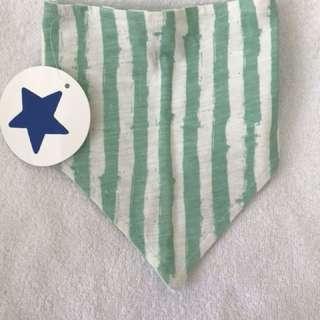 Brand new with tags Little starters green stripe bib