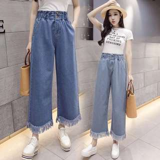 (S~5XL) Denim nine pants female summer and autumn loaded BF wind high waist loose flared pants