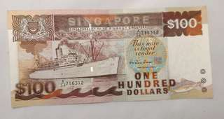 Singapore Old $100 Ship Series