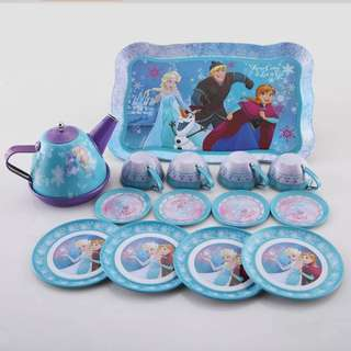 14pcs Frozen Princess stainless steel Teapot Teacups Saucers Afternoon Tea Toy set