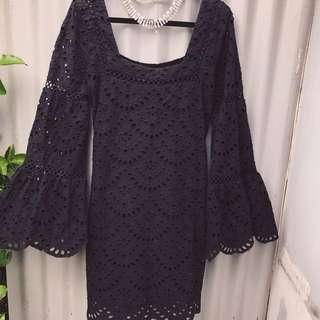 Ministry of Style blk broderie anglaise dress sz 12