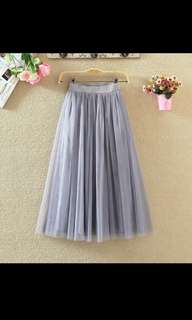 Grey Mesh Pleated Midi Skirt