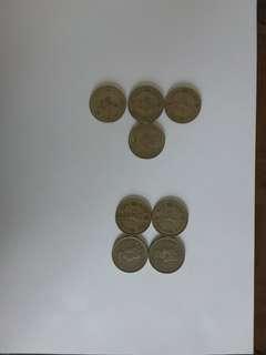 Eight 1 Hong Kong dollar coins