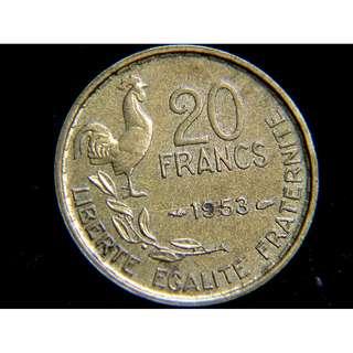 1953年法蘭西共和國公雞自由女神瑪莉安娜20法郎黃銅幣
