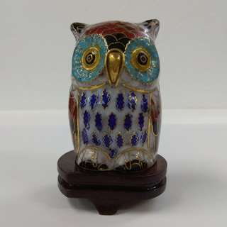 Vintage Chinese Sculpture White Cloisonne Copper Enamel Bird Owl Figurine with Wooden Stand