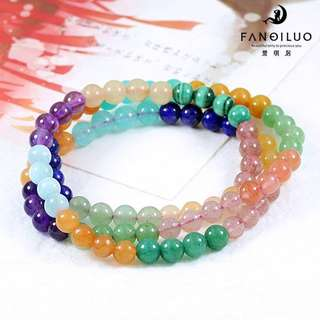 Multi Gems Three Loops Bracelet