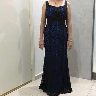 Dinner Gown / Evening Dress/ Prom Dress / Party Dress / Wedding Dress (L) (dark blue)