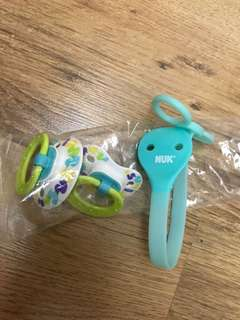 Brand New NUK Confetti Ducks Pacifier and Clip