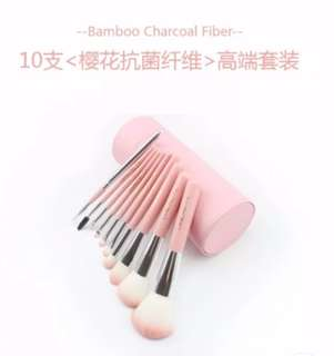 10pcs of Pink colour Make Up Brush with Cover box