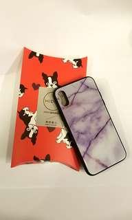 iPhone X 紫色雲石紋玻璃手機殼