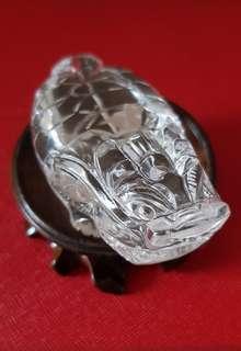 天然白水晶龙龟摆件