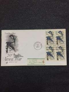 US 1967 20c Airmail Audubon Blk4 FDC stamps