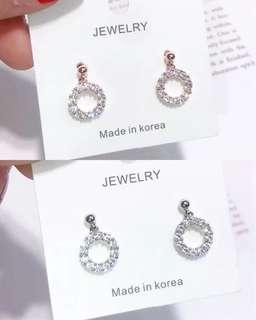 925純銀🇰🇷直送小圈鑲石耳環 🌿兩色:玫瑰金、純銀色
