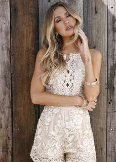 Champagne lace playsuit