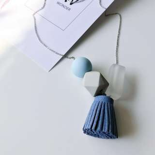 Handcrafted Blue Tassel Geometry Necklace