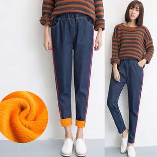 (S~5XL) Jeans loose loose waist casual plus cashmere round trousers