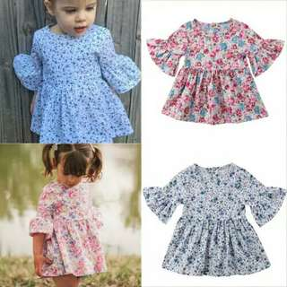 Toddler Baby Kids Girl Half Sleeve Princess Dresses Floral Tunic Party Dress Outfit Sundress