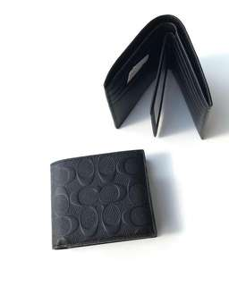 Coach Men Compact ID Wallet Embossed Black