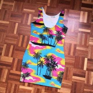 Tropical rainbow bodycon dress
