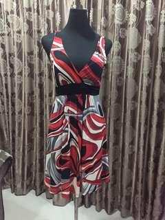Red - Black - Grey - Black Sleeveless Dress