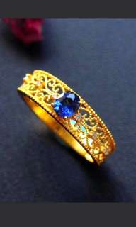 💎18K Gold - Natural Blue Sapphire Band Ring 💎